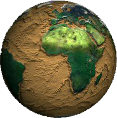A shaded relief map of the topography and bathymetry of the Earth